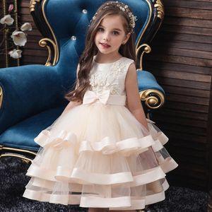 Christmas Elegant Girls Flower Kids Dress for Princess Girl Cake Tutu Catwalk Dress, Piano Performance, Event Prom Party Dress