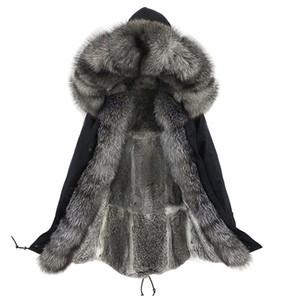 Lavelache 새로운 겨울 진짜 여우 모피 코트 긴 파카 남자 진짜 토끼 모피 라이너 자연 모피 칼라 두꺼운 따뜻한 남성 자켓 201125