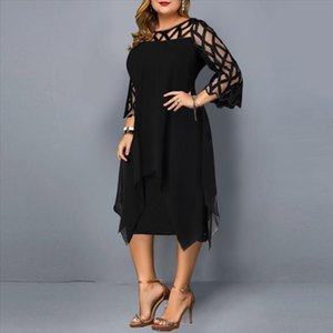 Womail Dresses Openwork perspective mesh chiffon double layer large size dress Hollow Out O Neck Casual Dress woman Vestidos F