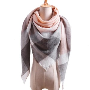 Women's Autumn and Winter Imitation Cashmere Triangle Scarf Lovers Plaid Neck Warm Long Shawl Scarf