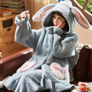 Velvet inverno para mulheres em casa 2pcs Sets Sleepwears Quente Plush bolso com capuz Coats Quarto bonito Ladies Pijamas