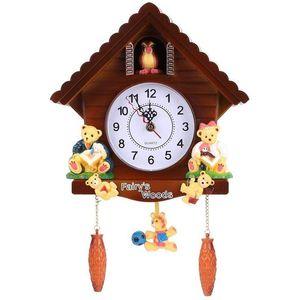 Retro Vintage Wooden Cuckoo Clocks Handcraft Carving Living Room Wall Clock Swing Timer Alarm Clocks Interiors Decoration Tools