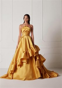 2021 Runway Newest Formal Dresses Evening Wear Strapless Ruched Zipper Back Prom Gowns Cheap A Line Robe De Marrige