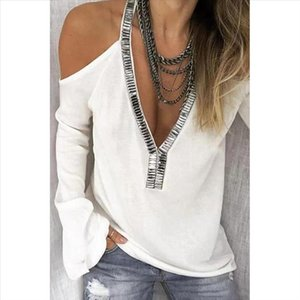 2019 Sexy Sequins V Neck Cold Shoulder T shirts Women Long Sleeve Solid Color Tops Large Size Sequins Decoration Tshirts Mujer