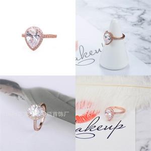 18K Rose Gold Drop Drop Bague de diamant CZ avec boîte originale pour Pandora 925 Silver Wedding Rings Set Engagement Bijoux pour femmes 60 m2