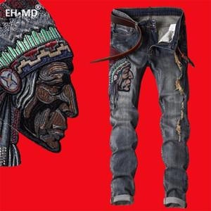 Eh · MD® Avatar Índico Jeans Bordados Homens Scratch Long Rachaduras High Street Calças Red Vermelhas Azul Cinza Cinza Slim Estilo Ocidental 201111
