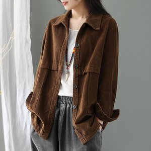 New 2020 Spring Fashion Women Long Sleeve Corduroy Shirts Loose Casual Turn down Collar Retro Cardigan Outwear Solid Blouse Tops