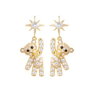 new fashion bear shaped earrings ins korean style girls Exquisite crystal diamond simple unique earrings Pendant