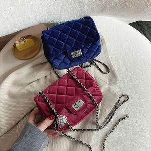 2020 Luxurys Designers suede diamond lattice chain bag women 2020 new versatile one shoulder cross over fashion small square bag