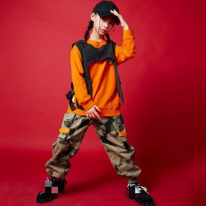 Kids Jazz dance Outfits Sweatshirt Top Sleeveless Jacket Camouflage Tactical pants Girls Boys HIP HOP Dance Costume Clothes Wear