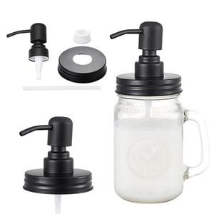 블랙 메이슨 비누 디스펜서 뚜껑 녹 방지 304 스테인레스 스틸 액체 소형 헤드 로션 펌프 주방 및 욕실 항아리 포함 GWF3224