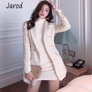 2020 Runway Designer Blazer Women's Double Breasted Metal Button Long Sleeve Notched Collar Jacket Wool Blends Tweed Blazer Coat