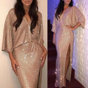 Prom dresses 2020 mermaid long luxury with sleeves floor length gold sequined sexy for women evening party wear plus size