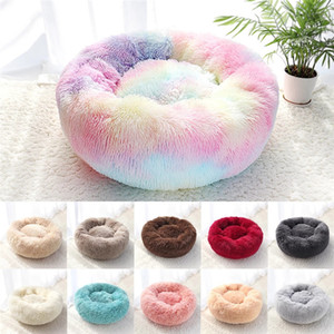 Pet Dog Bed Warm Fleece Round Dog Kennel House Long Plush Winter Pets Dog Beds For Dogs Cats Soft Sofa Cushion Mats