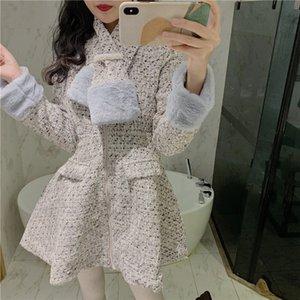 2021 New Vintage Wool Wool Wool Inverno coreano Elegante Tweed Dress Brevi maniche in pelle a vita lunga per linea vestita in sciarpa c87p