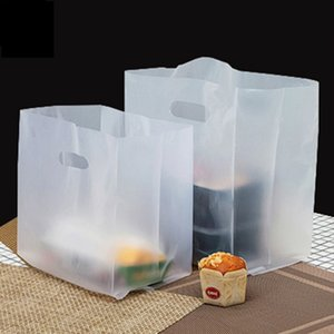 50Pcs Plastic Frosted Snowflake Pattern Coffee Bread Shop Bakery Cookies Pastry Nougat Food Takeaway Handbags Packaging Bags Y1121