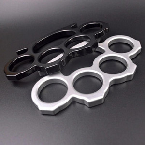 2pcs Steel Brass Knuckle Dusters Silver and Black Self Defense Personal Security EDC Tools Women Men self-defense Protective Gear K0484
