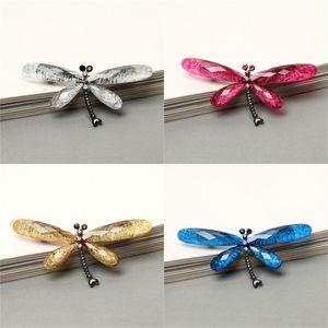 Retro Inseto Broche Resina Acrílico Brooches Liga Rhinestone Pins Jóias Acessórios Electroplate Dragonfly 3 9JJ O2