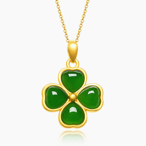 Classical clover green jade gemstones gold color pendant necklaces for women choker chain jewelry bijoux bague birthday gift LJ201016