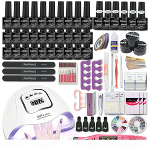Manicure Set for Nail Kit With 80W 120W 54W UV Lamp 30&10 Color Gel Varnish Set Nail Drill Machine Kit Extension