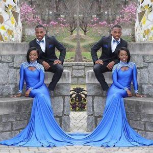 African High Neck Mermaid Evening Dresses Crystals Beaded Long Sleeves Black Girls Prom Dresses Open Back Formal Dress Wear robes de soirée