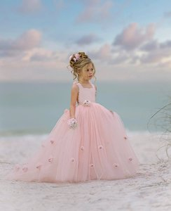 Lace Backless 2020 Flower Girl Dresses Ball Gown Tulle Little Girl Wedding Dresses Cheap Communion Pageant Dresses Gowns ZJ710