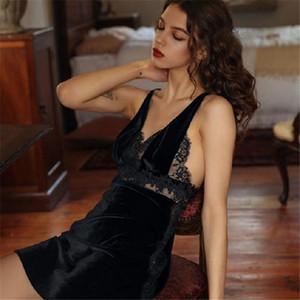 Autumn Sleepwear Female Suspenders Lace Velvet Sexy Lingerie Deep V Temptation Costume Nightdwear Mini Dress Womens Nightgown