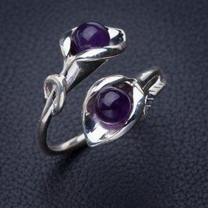 StarGems Natürliche Amethyst Maataifaal Eröffnung Handgemachte 925er Sterling Silber Ring 9 E2724 W1231