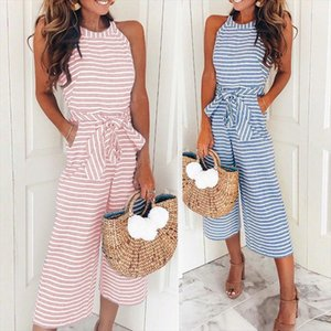 Plus Size Striped Wide Leg Jumpsuits Women Summer Sleeveless O neck Pockets Rompers Bowknot Pants Overalls Drop Shipping