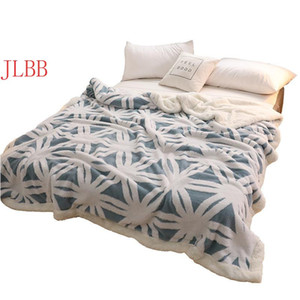 Blue white blanket wither bed throw blankets Jaquard Flannel fleece bed cover bedspread double layer quilts Snowflake 220*240cm