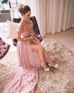 Pink Prom Dresses Long Off Shoulder Side Split Sweep Train 3D Floral Women Formal Evening Party Gowns for Special Occasions vestidos