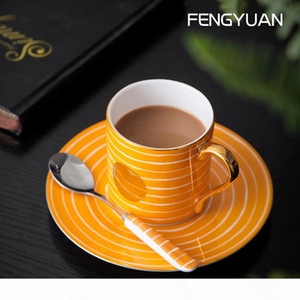 Irregular striped coffee cup set high-end home-style European coffee Mug saucer hand-drawn gold dot bone china