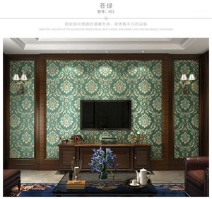 3DClassical European thick floral non-woven wallpaper blue green hotel living room bedroom TV background timeless wallpaper1