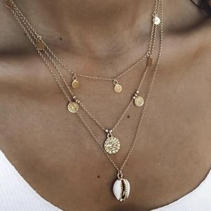 Vintage Gold Color Sequin Coin Choker Necklace Women Cowrie Shell Pendant Necklace Women Portrait Virgin Collier Femme