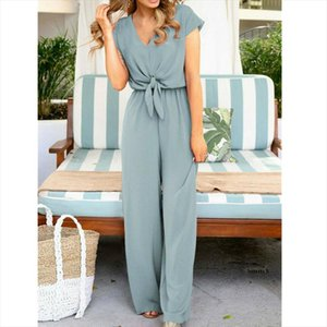 Women Ladies Clubwear Summer Elegant Bodycon Jumpsuit Short Sleeve Bow Solid Faashion OL Romper Drop Shipping