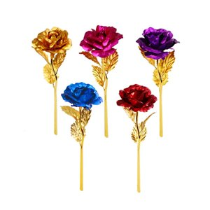 RTS 24K Plated Gold Rose Flower Artificial Flower 24K Foil Rose Birthday Valentine's Day New Year Creative Gift Roses OPP packaging