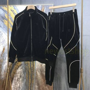 2020 Nuevo Diseñador Ropa de Lujo Hombre Velutum Chaqueta Jacket Sudadera Sudadera Sudadera Europa Zipper Sportwear Geometría Imprimir Chaqueta Pantalones