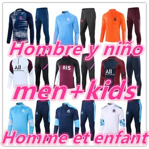 survetement foot enfant psg kids olympique de marseille om equipe de france ajax real madrid barcelone barcelona 20 21 soccer tracksuit football training survêtement pour homme