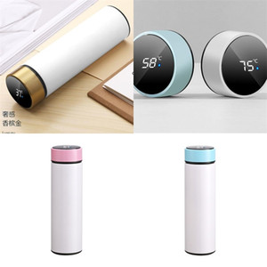 2 Sizes Water Bottles Intelligence Temperature Sublimation Blank Lovers Cup 304 Stainless Steel Vacuum Flask Flat Mouth High Quality 19 8xm