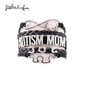 Little Minglou Infinity Love Autism Mom سوار لغز سحر الوعي الجلود التفاف أساور أساور للنساء مجوهرات