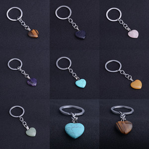Love Keychain Mariage Faveur Naturel Pierre Cristal Love KeyRing Keychain 7 Style Oppack Sac Package XD24464