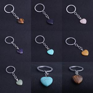 Love Keychain الزفاف لصالح الحجر الطبيعي الكريستال الحب كيرينغ المفاتيح 7 نمط opp حقيبة حزمة XD24464