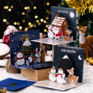 6pcs lot Cartoon Children Gift Greeting Card New Year Christmas Festival Santa Pattern 3D Gift Message Cards