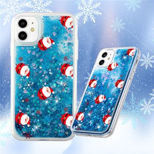 Christmas Style Moose And Christmas Tree Colorful Quicksand Soft TPU Cute Cartoon Phone Case Cover Phone 12 pro Case