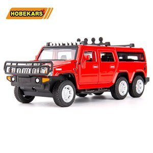 Diecasts & Toy Vehicles 6 Wheels Hummer 1:32 Model Car Metal Alloy SUV Simulation Pull Back Toys For Kids Gifts For Children Z1202