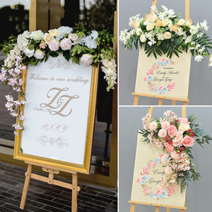 Wedding Flower Row Welcome Sign Simulation Floral Hotel Creative Guide Decorations Photography Props Home Door