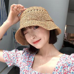 일본어 틈새 벨 모양의 분지 모자 어린이 여름 금질 양동이 모자 한국어 스타일 모든 일치면 폐쇄 짚