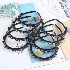 Rhinestone Retro Headband Plastic Double Layer Clip Hairbands Crystal Braided Hair Hoop Headwear Fashion Women Hair Accessories