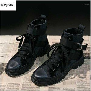 BONJEAN 2020 nuevos botas cortas de deportes de soledad gruesa de otoño Botas locomotoras de viento inglés de mujer