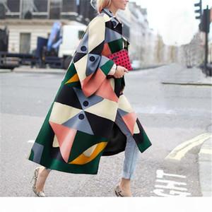 Women Cardigan Windbreaker Autumn Casual Geometric Lapel Neck Loose Outerwear Winter Womens Digital Warm Coat